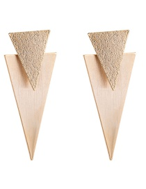 Trendy Gold Color Triangle Shape Design Pure Color Earrings