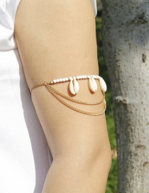 Trendy Gold Color Shells Decorated Multi-layer Arm Chain