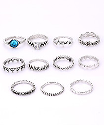 Fashion Silver Color Full Diamond Decorated Ring(11pcs)