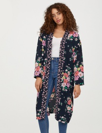 Fashion Multi-color Flower Pattern Decorated Kimono