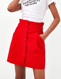 Fashion Red Pure Color Decorated Skirt
