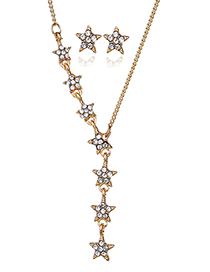 Fashion Gold Color Full Diamond Decorated Star Shape Jewelry Sets
