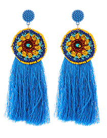 Fashion Blue Round Shape Decorated Tassel Earrings