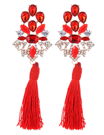Fashion Red Hollow Out Design Tassel Earrings