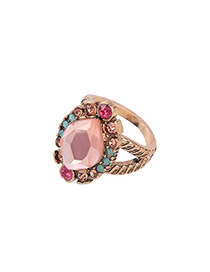 Fashion Pink Full Diamond Decorated Ring
