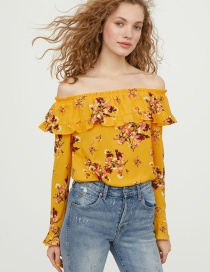 Fashion Yellow Off-the-shoulder Design Flower Pattern Blouse