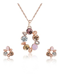 Fashion Rose Gold Round Shape Decorated Jewelry Sets