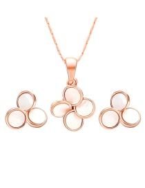 Fashion Rose Gold Flower Shape Decorated Jewelry Sets