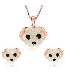 Fashion Rose Gold Dogs Shape Decorated Jewelry Sets