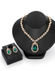 Fashion Green Waterdrop Shape Decorated Jewelry Sets
