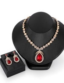 Fashion Red Waterdrop Shape Decorated Jewelry Sets