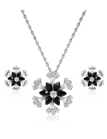 Fashion Silver Color Snowflake Shape Decorated Jewelry Sets