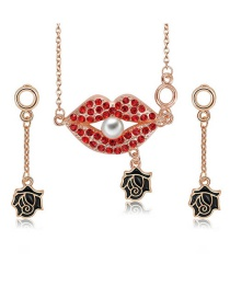 Fashion Rose Gold Lips&flower Shape Decorated Jewelry Sets