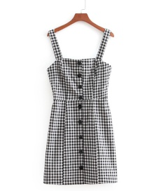 Fashion Black+white Grid Pattern Decorated Dress
