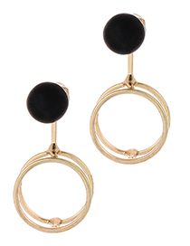 Fashion Gold Color+black Round Shape Decorated Earrings