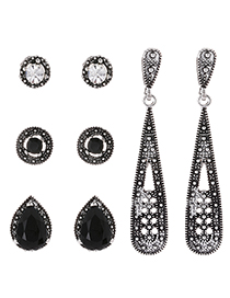 Fashion Black Waterdrop Shape Decorated Earrings(4 Pairs)