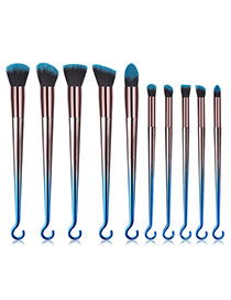 Fashion Blue+black Round Shape Decorated Makeup Brush (10 Pcs)
