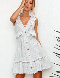 Fashion White Stripe Pattern Decorated Dress