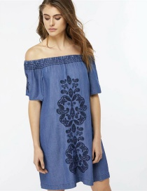 Fashion Blue Pure Color Decorated Off The Shoulder Dress