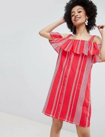Fashion Red Stripe Pattern Decorated Dress
