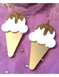 Fashion Gold Color+white Ice Cream Shape Decorated Earrings