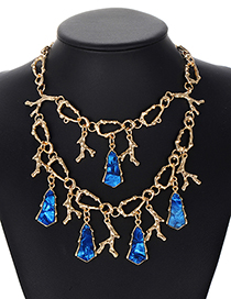 Fashion Blue Geometry Shape Decorated Necklace