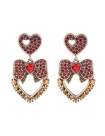 Fashion Red Heart&bowknot Shape Decorated Earrings