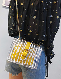 Fashion Yellow Buckle Shape Decorated Shoulder Bag