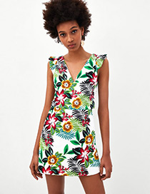 Fashion Multi-color Flower Pattern Decorated Dress