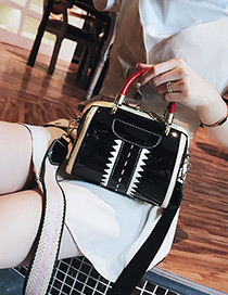 fashion Black Color Matching Decorated Shoulder Bag