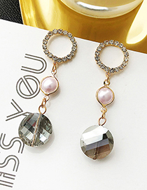 Gold Color Pearl Decorated Round Shape Earrings