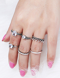 Vintage Silver Color Crown Shape Decorated Ring (6 Pcs )