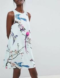 Fashion Light Green Flowers&bird Pattern Decorated Sleeveless Dress