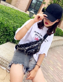 Fashion Black Double Zippers Decorated Simple Bag