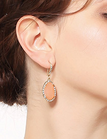 Elegant Gold Color Oval Shape Diamond Decorated Earrings