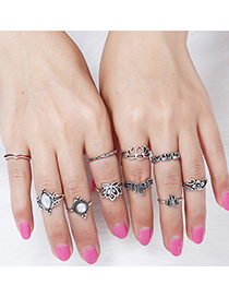 Elegant Silver Color Hollow Out Flower Decorated Ring(10pcs)