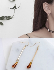 Fashion Coffee Water Drop Shape Decorated Earrings