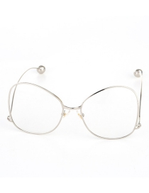 Fashion Silver Color Round Shape Decorated Glasses