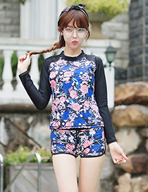 Sexy Multi-color Flowers Decorated Long Sleeves Swimsuit