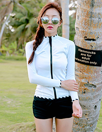 Sexy White+black Long Sleeves Design Color Matching Swimsuit(3pcs)