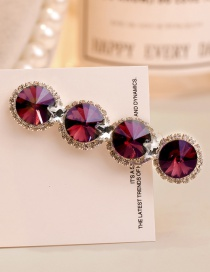 Sweet Claret Red Full Diamond Design Pure Color Hair Clip