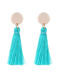 Elegant Pale Blue Tassel Decorated Long Earrings