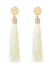 Fashion Beige Tassel Decorated Long Earrings