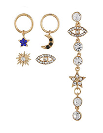 Elegant Gold Color Moon&star Decorated Earrings (5pcs)