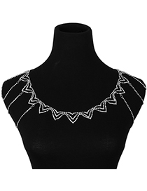 Elegant Silver Color Full Diamond Decorated Necklace