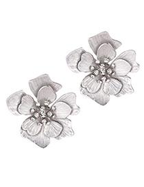 Elegant Silver Color Flower Shape Design Pure Color Earrings