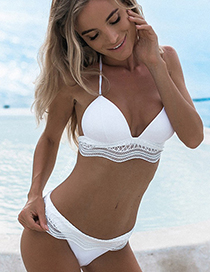 Sexy White Hollow Out Design Low-waisted Swimsuit