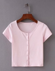 Fashion Pink Round Neckline Design Pure Color T-shirt