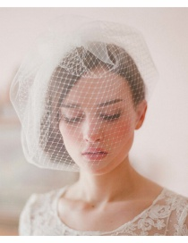 Fashion White Grid Pattern Decorated Veil