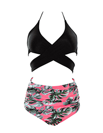 Sexy Black+pink Off-the-shoulder Design Leaf Pattern Decorated Swimwear(2pcs)